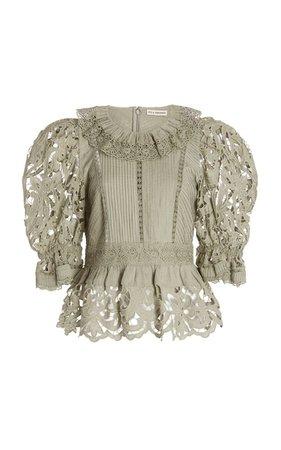 Mildred Broderie Anglaise Cotton-Linen Top By Ulla Johnson | Moda Operandi