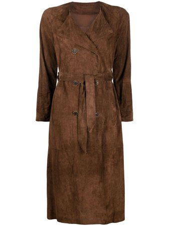 Salvatore Santoro suede belted trench coat - FARFETCH