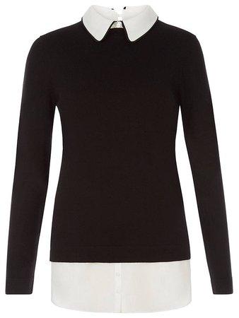 Hobbs Ellis Cotton Mix Sweater Shirt, Black Ivory at John Lewis & Partners
