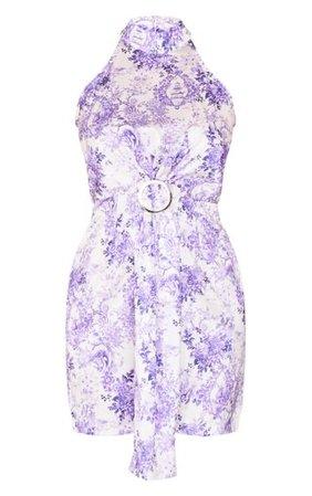 Lilac Porcelain Satin High Neck Ring Detail Drape Bodycon Dress