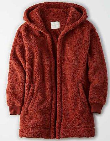 AE Fuzzy Sherpa Hooded Cardigan burgundy