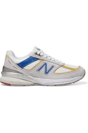New Balance | 990v5 suede, mesh and faux leather sneakers | NET-A-PORTER.COM