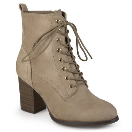 Brinley Co. - Brinley Co. Women's Lace-up Stacked Heel Faux Suede Booties - Walmart.com