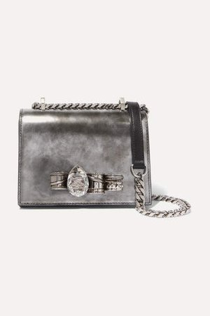 Jewelled Satchel Embellished Leather Shoulder Bag - Silver