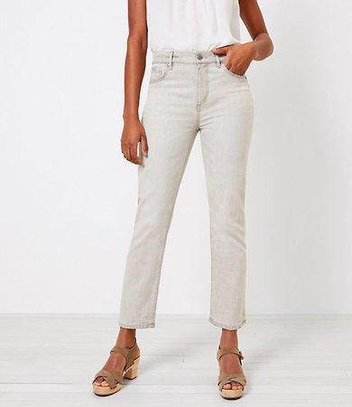The High Waist Straight Crop Jean in Light Grey Wash
