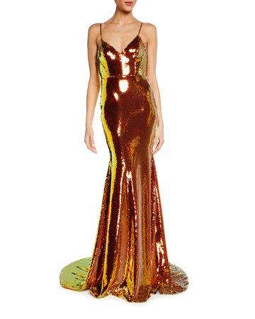 Alex Perry Aldridge Iridescent Sequined Mermaid Gown   Neiman Marcus