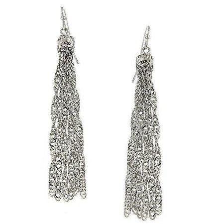 Silver Tone Chain Tassel Earrings