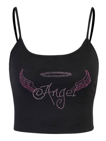 2021 Angel Rhinestone Crop Cami Top Black L In Tank Tops & Camis Online Store. Best For Sale   Lovelyerica.com