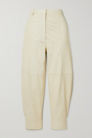 Leather Tapered Pants - Cream