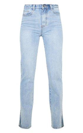 Light Wash Split Hem Jeans   Denim   PrettyLittleThing