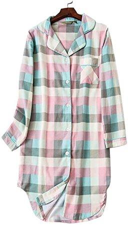 Amazon.com KEKY Women's Plaid Button Down Nightshirt Soft Pajama Tops Sleep Shirt Dress Pink
