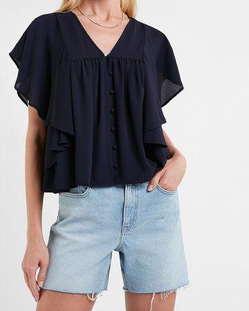 Flutter Sleeve Covered Button Shirt