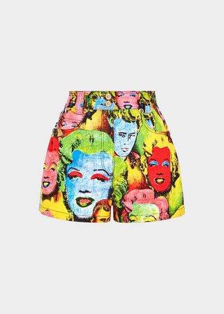 Versace Pop Art Print Shorts for Women