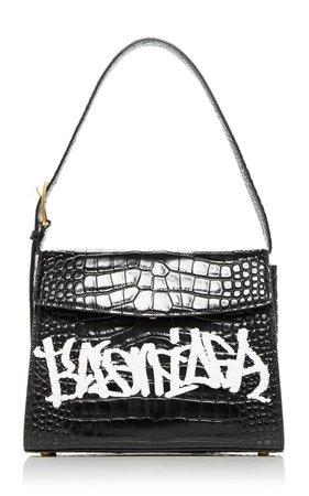 Ghost Printed Croc-Effect Leather Shoulder Bag by Balenciaga | Moda Operandi