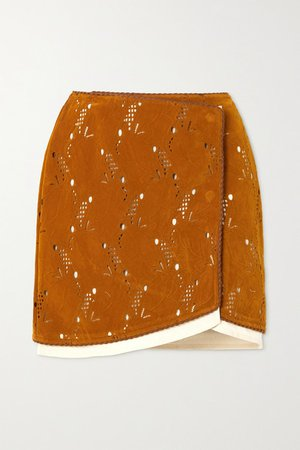 Kaila Laser-cut Embossed Faux Suede Wrap Mini Skirt - Brown
