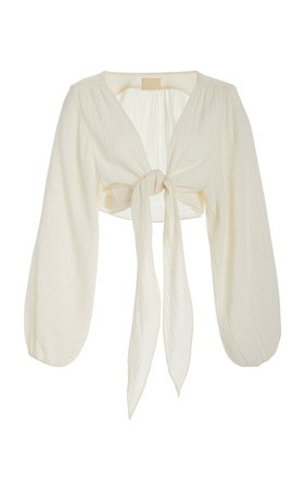 Bianca Tie-Front Cotton Blouse by Anaak | Moda Operandi