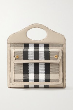 Leather-trimmed Checked Canvas Tote - Beige