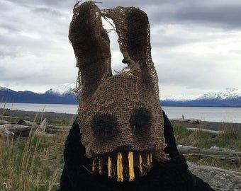 Scary Rabbit mask Creepy Easter Bunny Mask Adult Halloween | Etsy