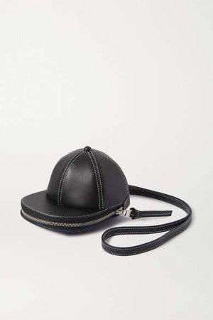 Cap Leather Shoulder Bag - Black