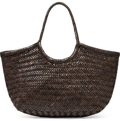Diffusion - Nantucket Large Woven Leather Tote - Dark brown