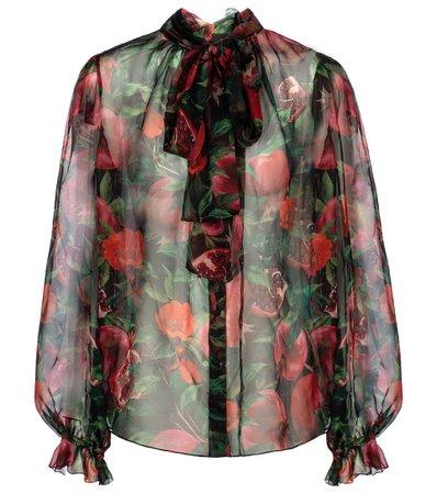 Dolce & Gabbana - Exclusive to Mytheresa – Pomegranate-print silk chiffon blouse | Mytheresa