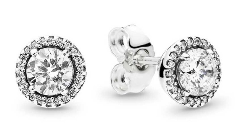 PANDORA ROUND SPARKLE STUD EARRINGS STERLING SILVER, CUBIC ZIRCONIA