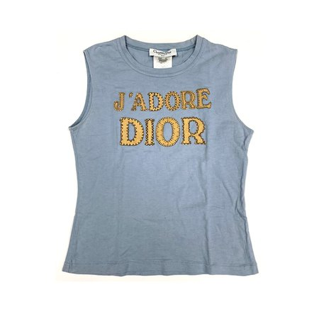 J'adore Dior Jumbo Baby Blue Logo Tank Top - S – Treasures of NYC