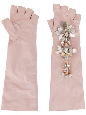 Biyan Crystal Embellished Gloves ABSS20030MEDIUM Pink | Farfetch