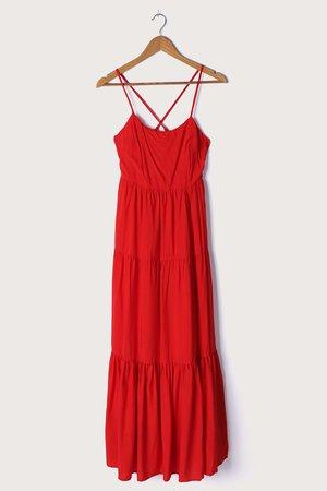 Red Maxi Dress - Sleeveless Maxi Dress - Tiered Maxi - Lulus