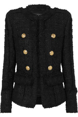 Balmain | Double-breasted frayed metallic tweed blazer | NET-A-PORTER.COM