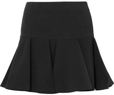 Pleated Crepe Mini Skirt - Black