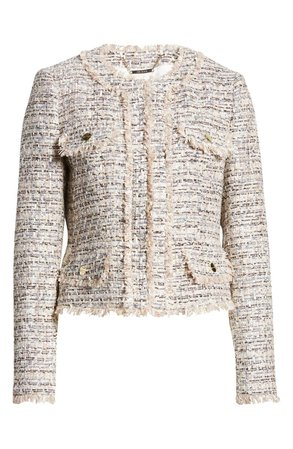 Ted Baker London Women's Fringe Metallic Crop Tweed Jacket | Nordstrom
