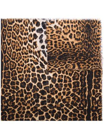 Saint Laurent Leopard Print Scarf - Farfetch