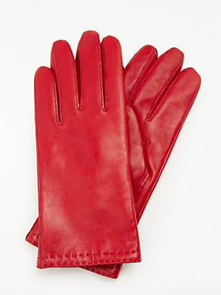 John Lewis & Partners Leather Fleece Lined Gloves at John Lewis & Partners