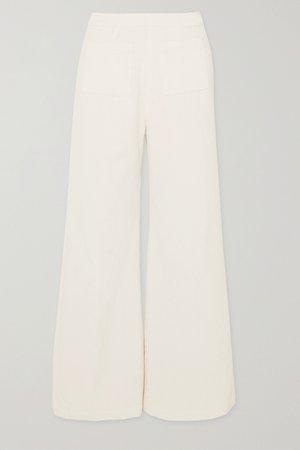 White Tove cropped cotton-corduroy wide-leg pants | Faithfull The Brand | NET-A-PORTER