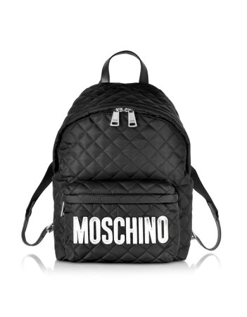 Moschino Black Quilted Nylon Medium Backpack W/silver Logo