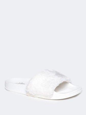 Monzi Furry Slide Sandal – J Adams