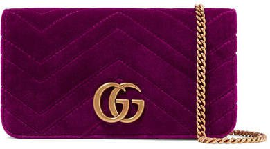 Gg Marmont Micro Quilted Velvet And Textured-leather Shoulder Bag - Magenta