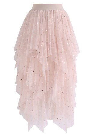 Chic Wish Shooting Stars Asymmetric Tiered Mesh Skirt in Pink - Retro, Indie and Unique Fashion