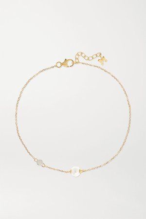 Gold 14-karat gold, pearl and diamond bracelet | Mateo | NET-A-PORTER