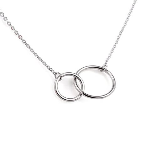 Jude Jewelers Stainless Steel Friendship Eternity Necklace Double Circle Interlocking Infinity (Silver) | Amazon.com