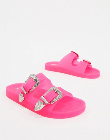 ASOS DESIGN Falcon western jelly sandals in neon pink | ASOS