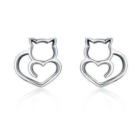 Amazon.com: VOROCO Stud Earrings 925 Sterling Silver Cute Animal Ear Studs Hypoallergenic Pet Jewelry Tiny Earring for Women Girl with Gift Box(cat): Clothing