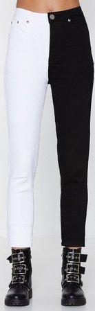 half black white jeans