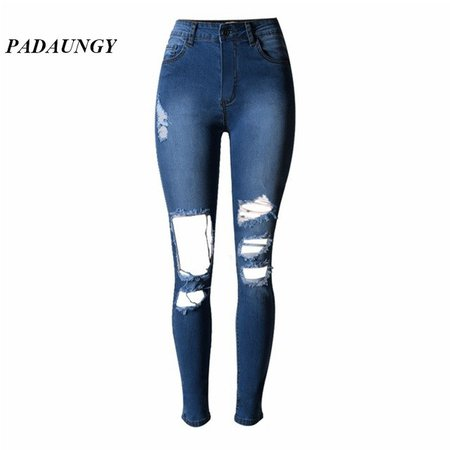 Skinny High Waist Jeans Holes Ripped Jeggings