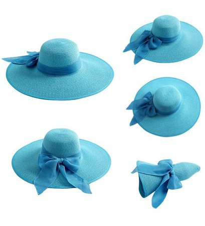 Women Floppy Hat Big Bowknot Straw Hat Wide Brim Beach Hat Sun Hat Sky Blue CL17YDYDLGU
