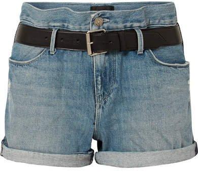 Pierce Belted Distressed Denim Shorts - Light denim
