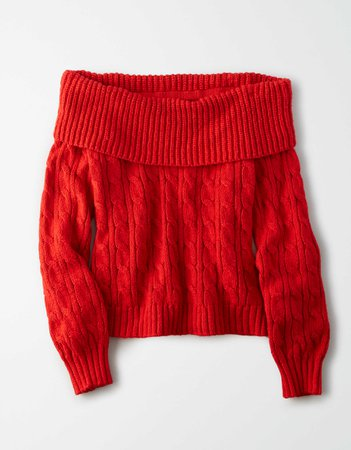 AE Off-The-Shoulder Cable Knit Sweater red