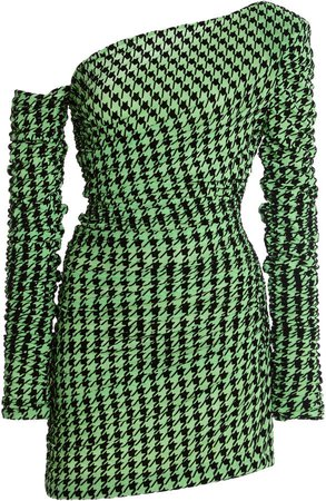 David Koma Asymmetric Jersey-Houndstooth Mini Dress