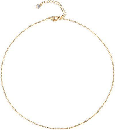 Amazon.com: Gold Plain Chain Choker Necklace, 14K Gold Filled Dainty Cute Link Lace Thin Clavicle Chain Long Necklace Delicate Fashion Choker Necklace Jewelry Gift for Women: Jewelry